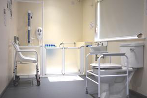 inside a bathroom with supportive equipment to assist the less able-bodied
