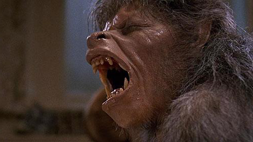A man transforms into a werewolf in this film still