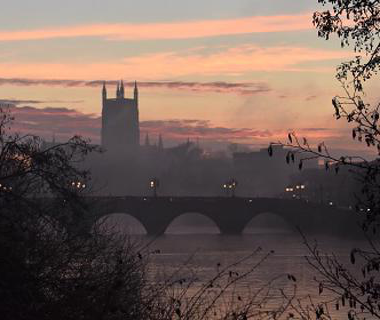 view of Worcester cathedral at sunrise